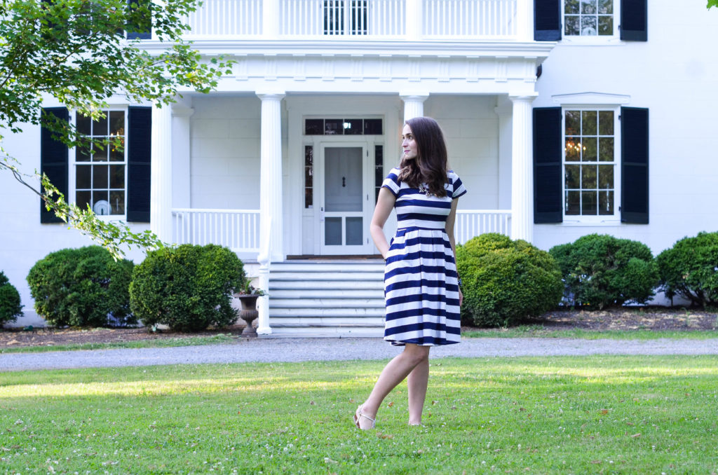 Blue & White Striped Shabby Apple Dress | Breezing Through-11