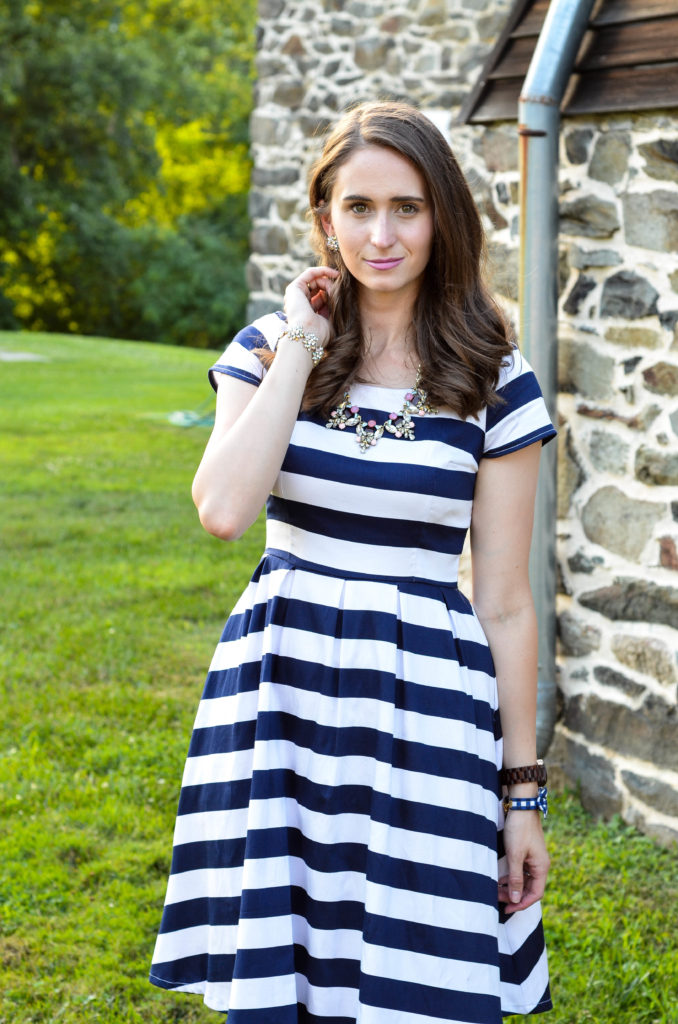 Blue & White Striped Shabby Apple Dress | Breezing Through-17